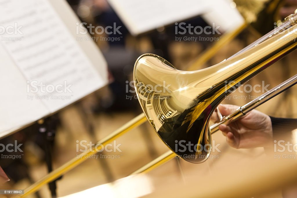 Detail of a trombone stock photo