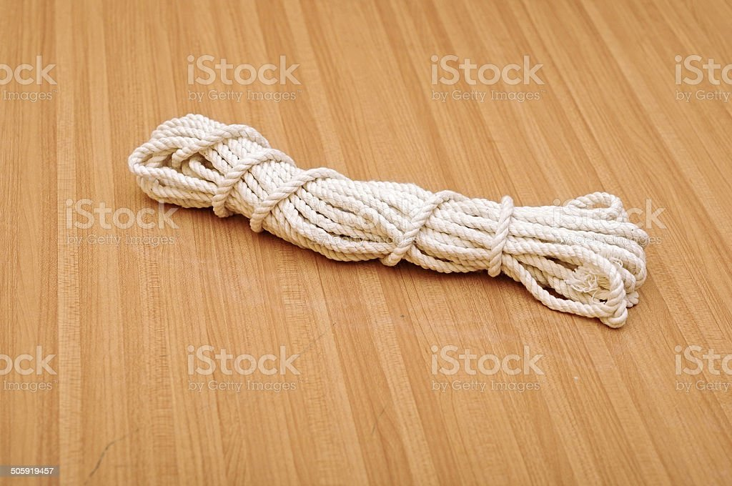 Detail of a twisted nylon rope stock photo