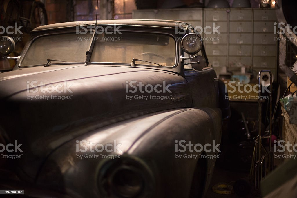 Detail of a vintage American car, Talad Rot Fai, Bangkok stock photo