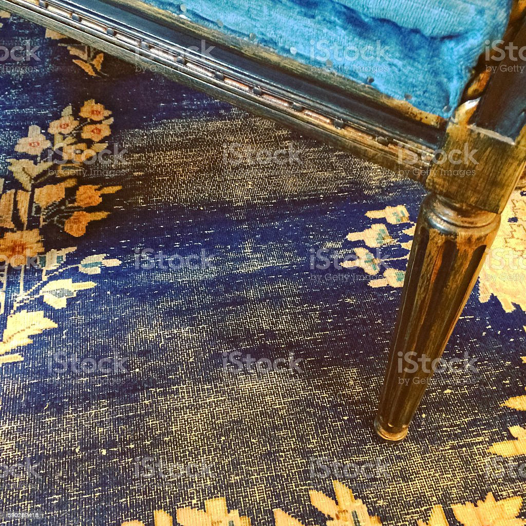 Detail of a vintage style furniture and carpet stock photo