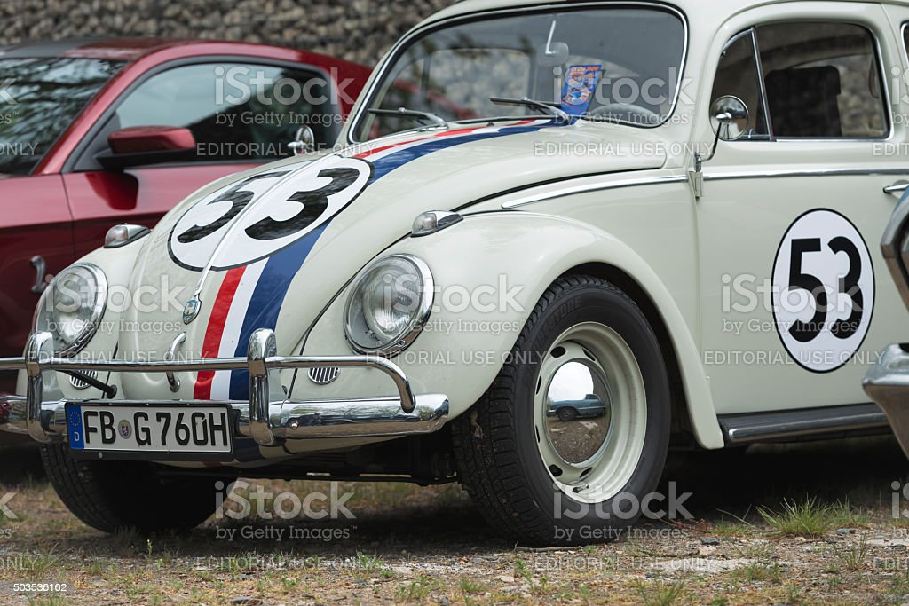 Detail of a VW Beetle customized like Herbie (Film Car) stock photo