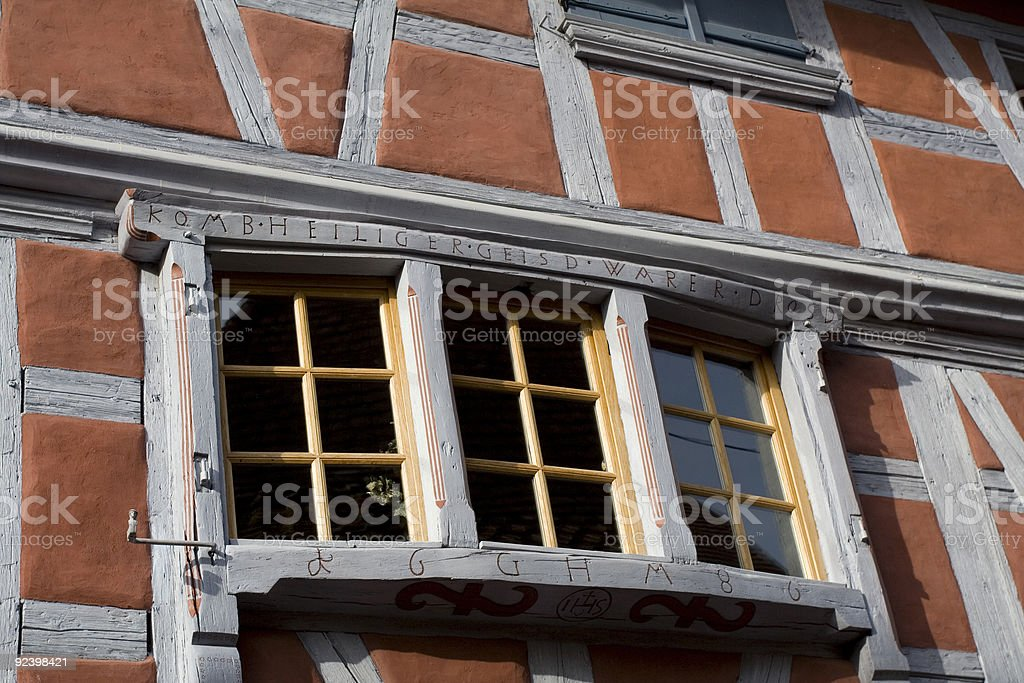 Detail of a window from nice house in Eguisheim, France royalty-free stock photo