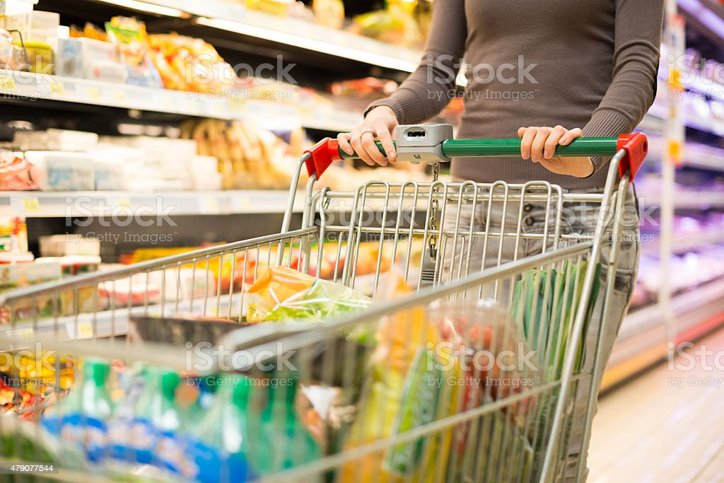 Detail of a woman shopping at the supermarket stock photo