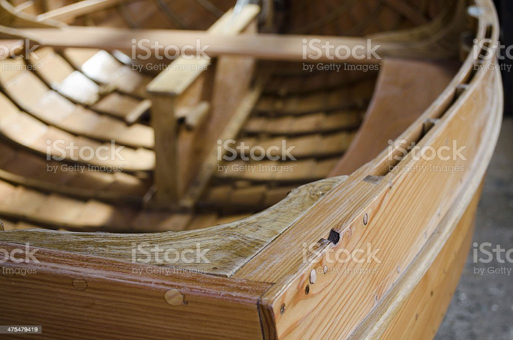 Detail of a wooden built dinghy royalty-free stock photo