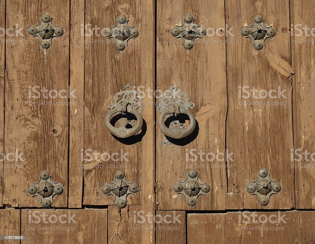 Detail of a wooden church door royalty-free stock photo