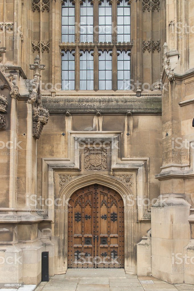 Detail of a wooden doorway from the Houses of Parliament stock photo