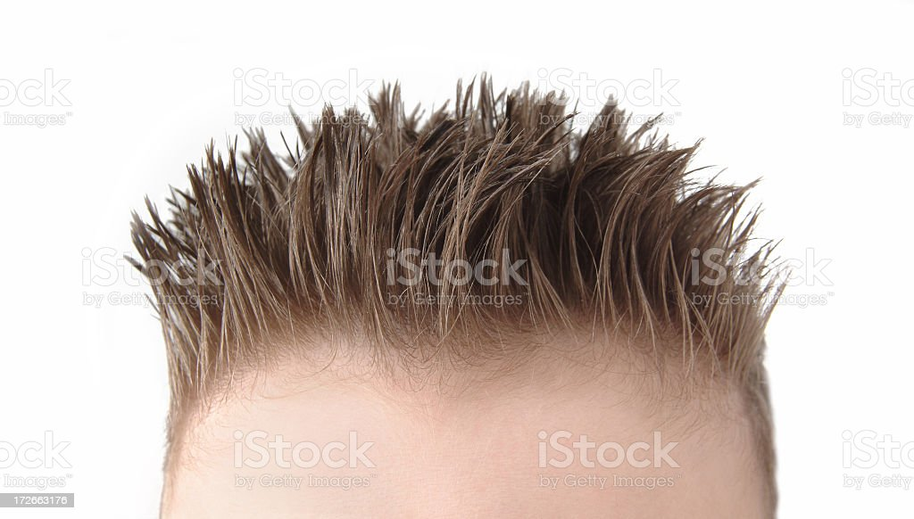 Detail of a young boy's flattop haircut on a white background royalty-free stock photo