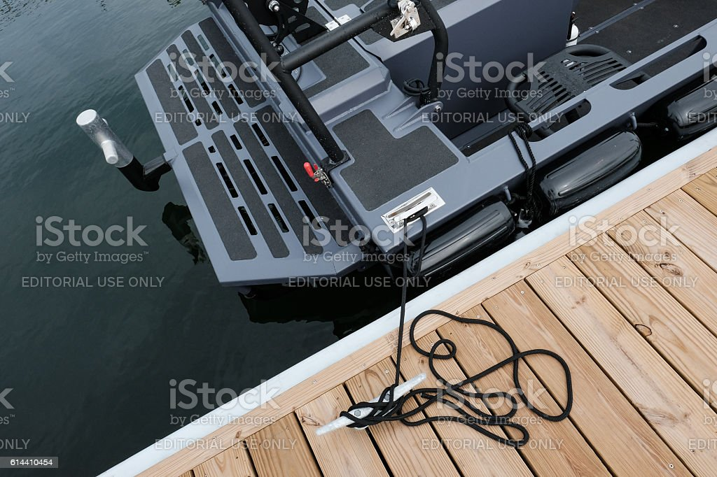 Detail Of Advanced Concept MotorBoat In Harbour stock photo