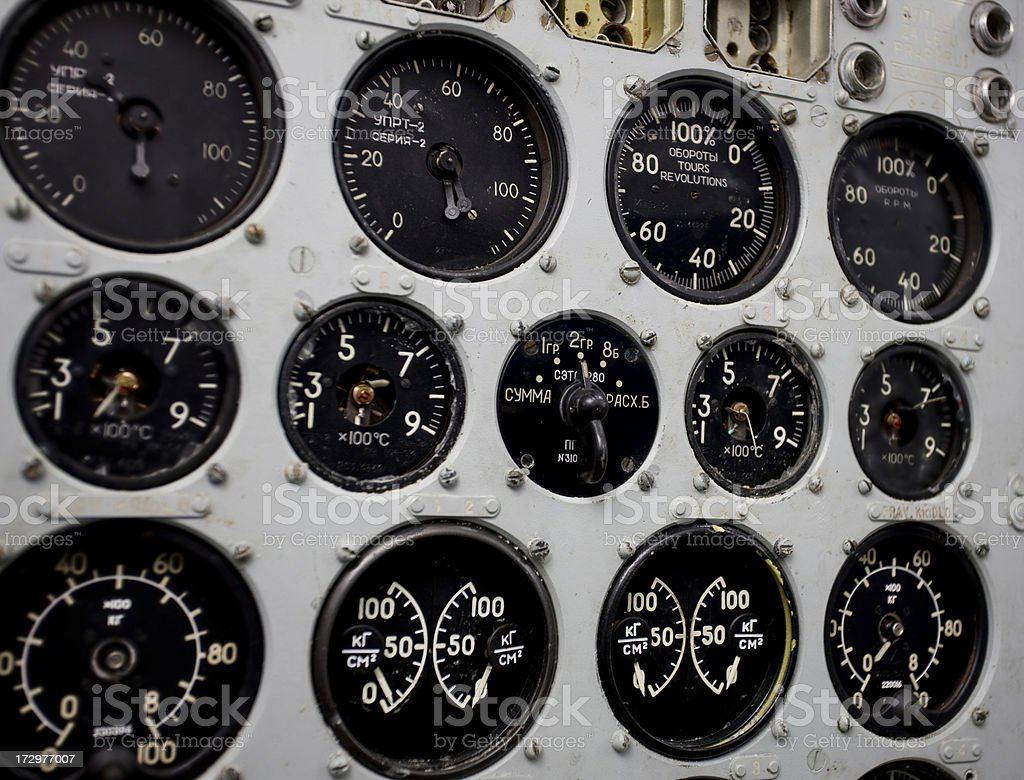 Detail of airplane cockpit royalty-free stock photo