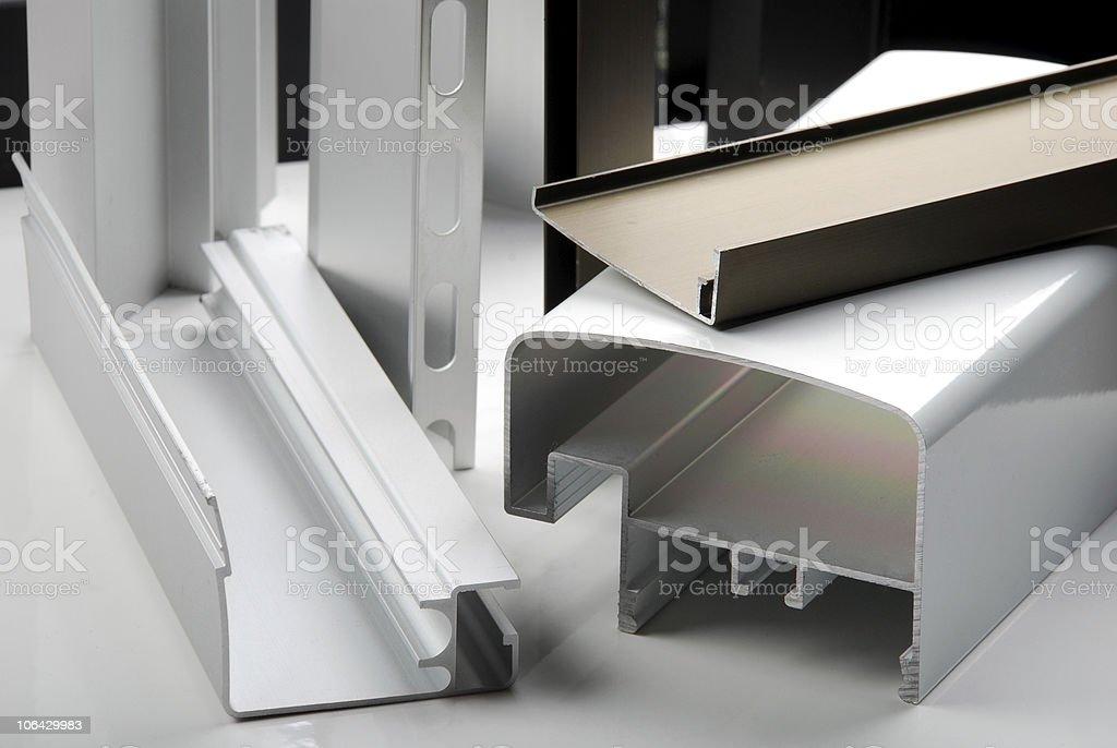 Detail of aluminium profiles stock photo