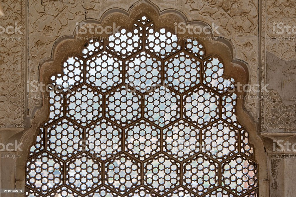 Detail of Amer Fort near Jaipur, Rajasthan, India stock photo