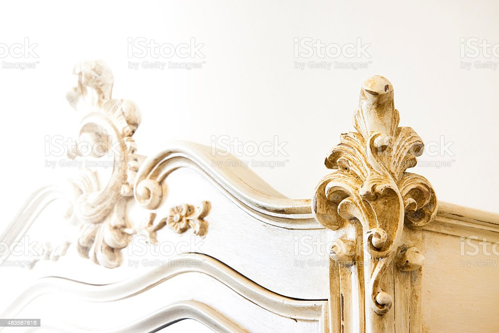 Detail of an antique italian furniture just restored stock photo