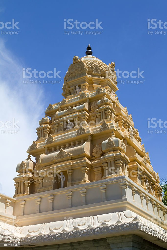 Detail of an Hindu Temple against blue sky in Mauritius stock photo