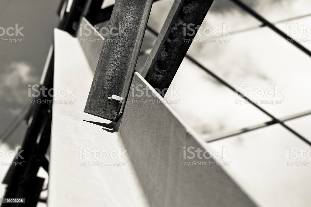 Detail of an iron reticular structure stock photo