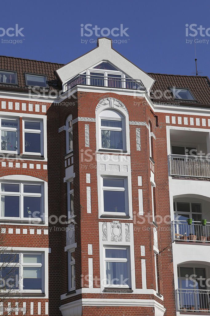 detail of an old and modernized townhouse stock photo