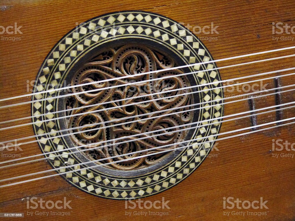 Detail of an old guitar stock photo