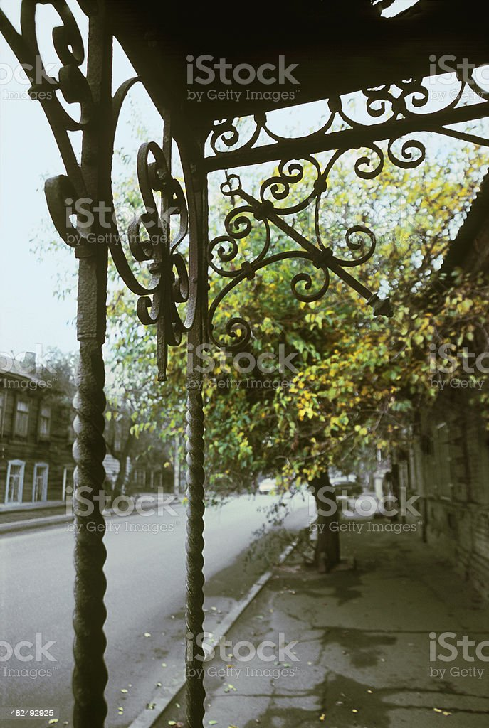 Detail of an old iron canopy. royalty-free stock photo