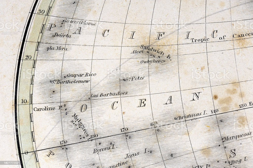 Detail of an Old Map royalty-free stock photo