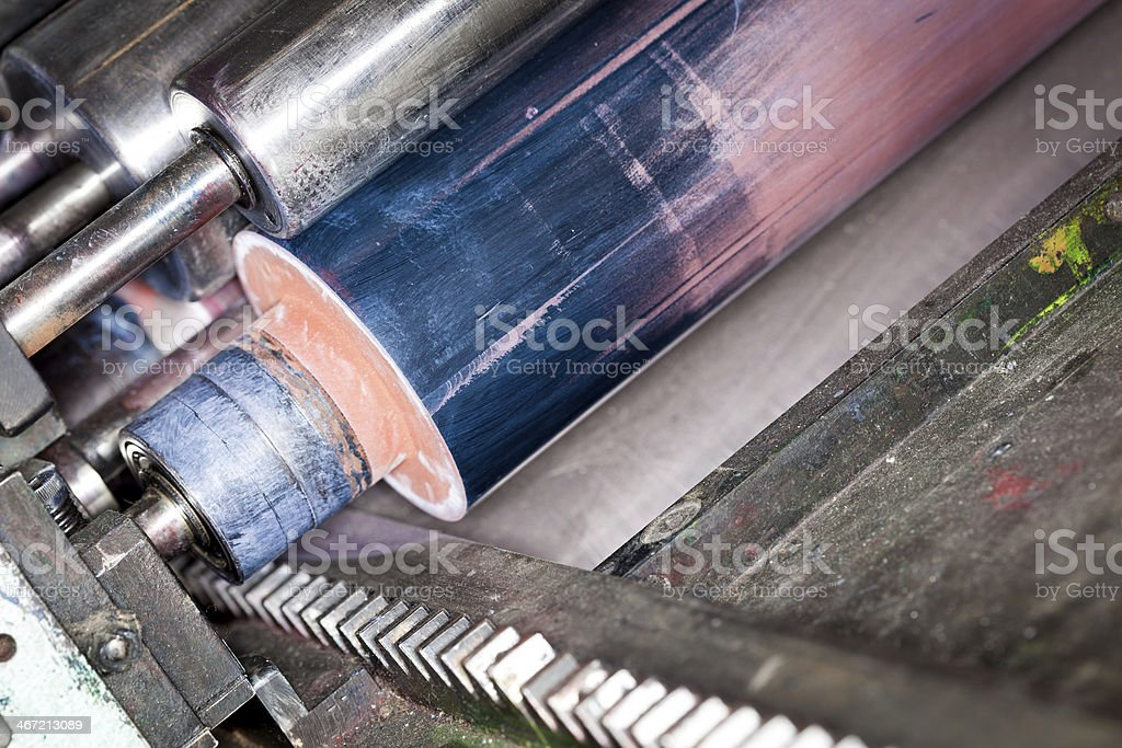 Detail of an old printing press stock photo