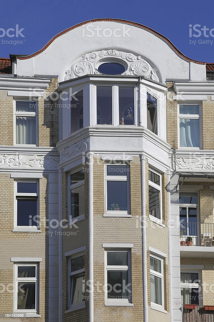 detail of an old townhouse stock photo