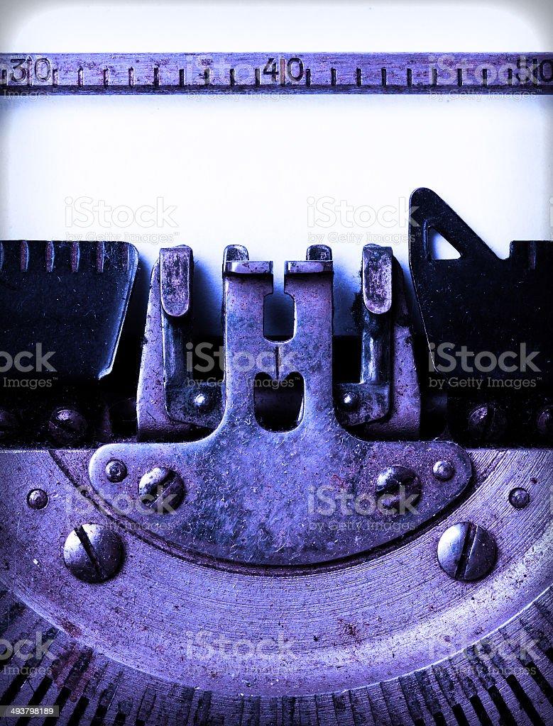 Detail of an old typewriter stock photo