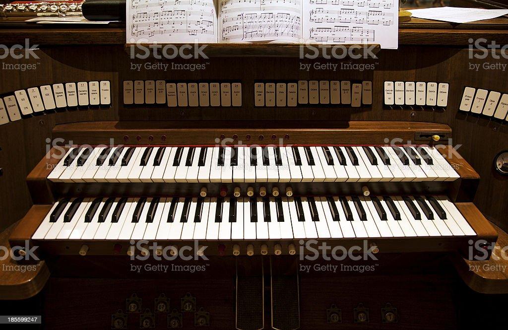 Detail of an organ in a church stock photo