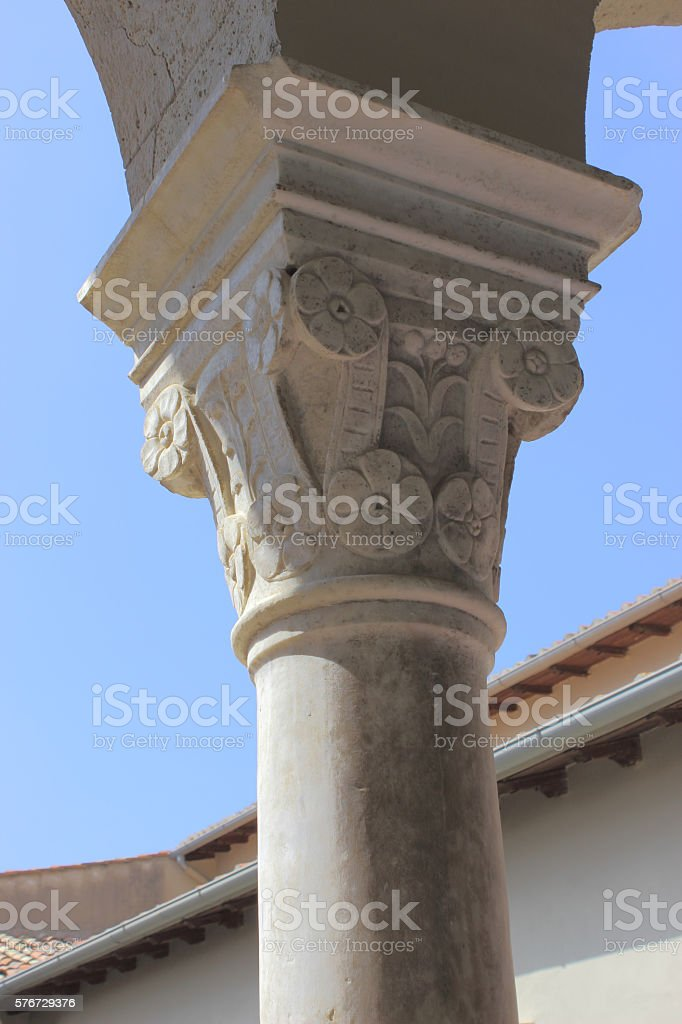 detail of ancient capital stock photo