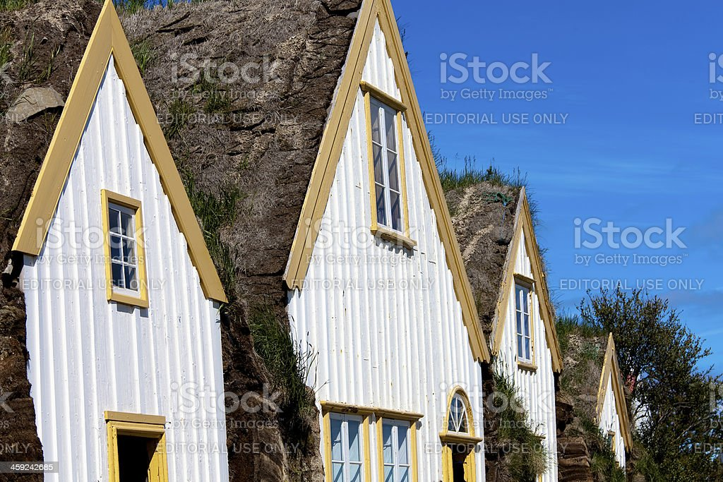 Detail of ancient houses in Glaumbaer Iceland royalty-free stock photo