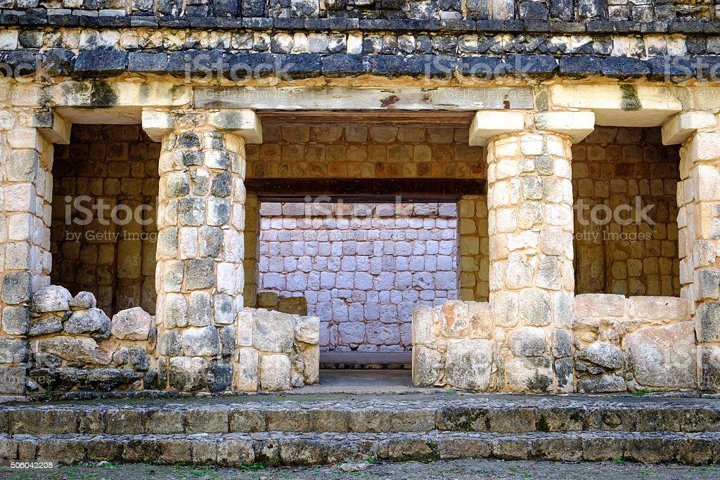 Detail of ancient Mayan stone wall ruins stock photo