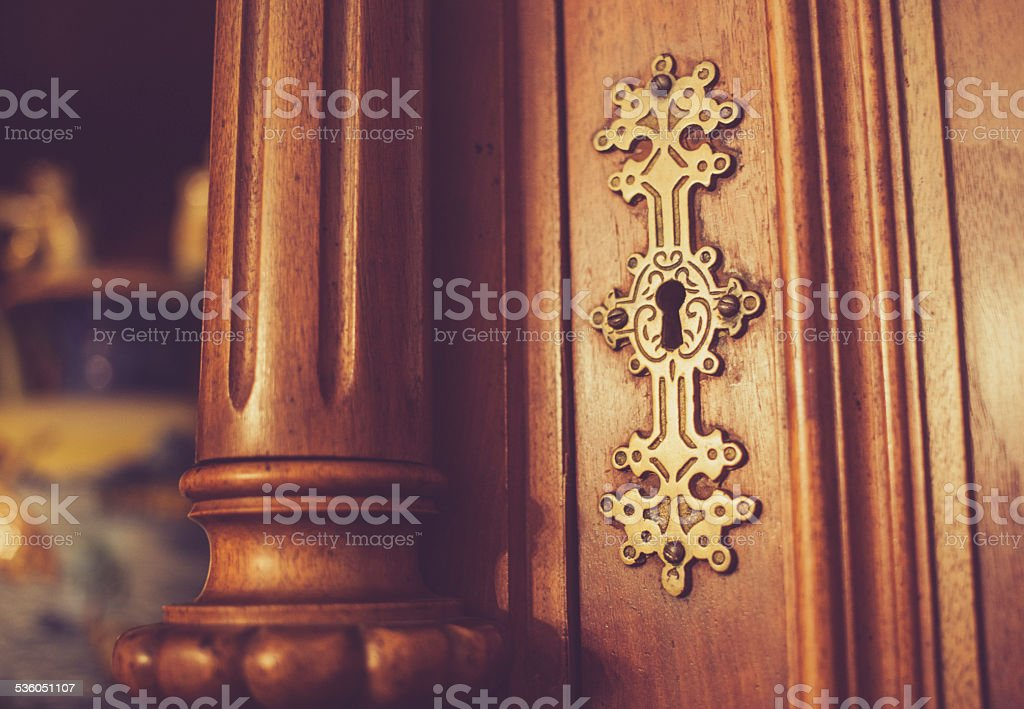 Detail of antique furniture and vase stock photo