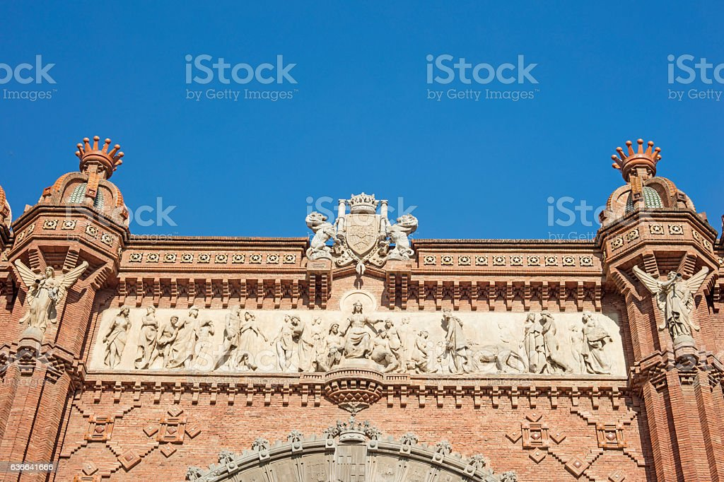 Detail of Arch of Triumph monument located in Barcelona, Catalon stock photo