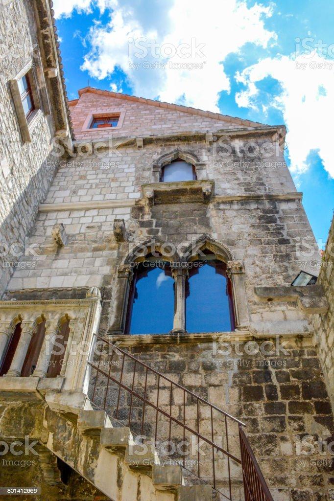 Detail of architecture in Split Old Town, Split, Croatia stock photo