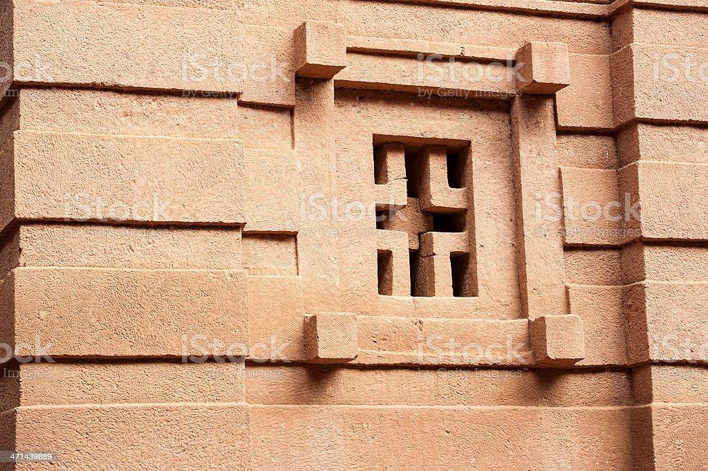 detail of arock-hewn church in Lalibela, Ethiopia royalty-free stock photo