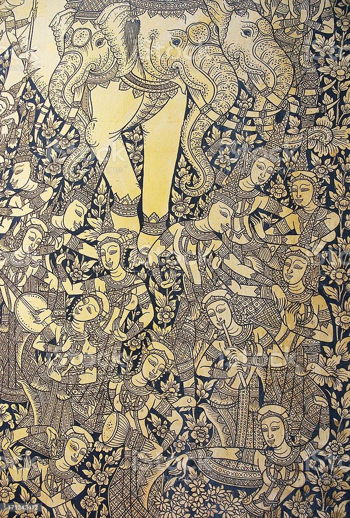 detail of art on door at Wat Suthat royalty-free stock photo
