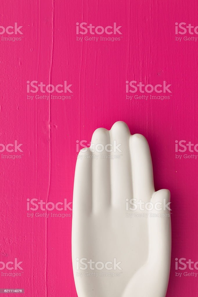 Detail of artifical hand on the wooden  table stock photo
