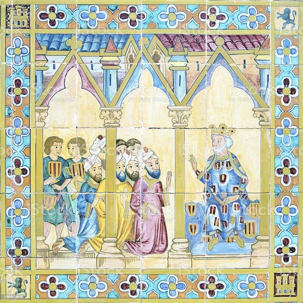 Detail of azulejo in Plaza de Espana, Sevilla royalty-free stock photo