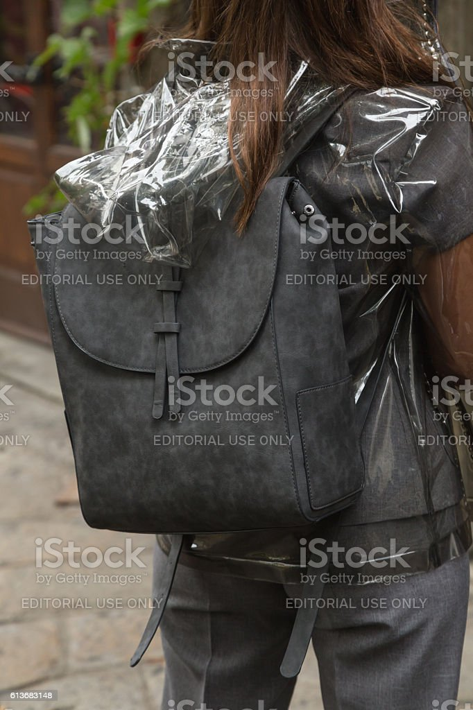 Detail of backpack during Milan Fashion Week stock photo
