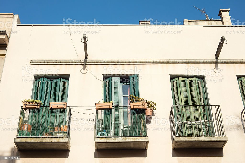 Detail of balconies in Born, Barcelona, Spain stock photo