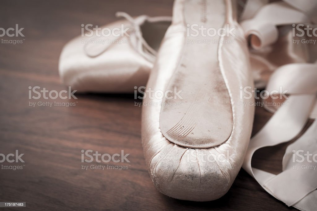 Detail of ballet shoes royalty-free stock photo