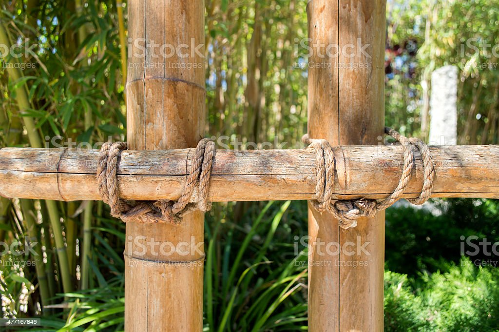 detail of bamboo fence stock photo