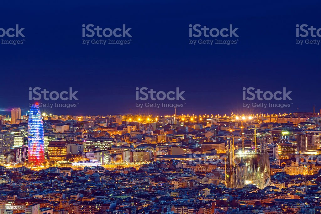Detail of Barcelona at night stock photo