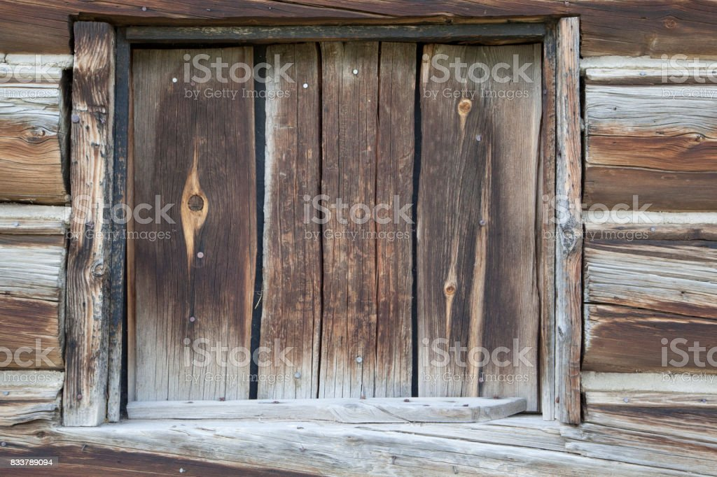 Detail of barn structure of the homestead and barn in Mormon Row, Grand Teton National Park stock photo