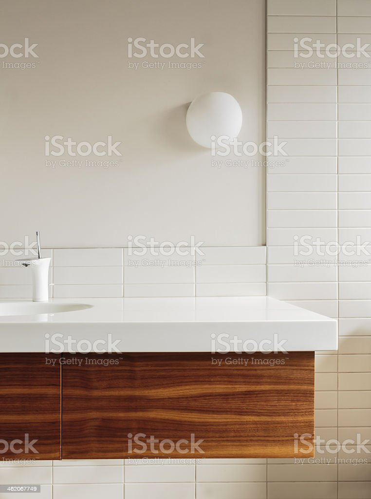 Detail of bathroom counter and tile in modern home stock photo