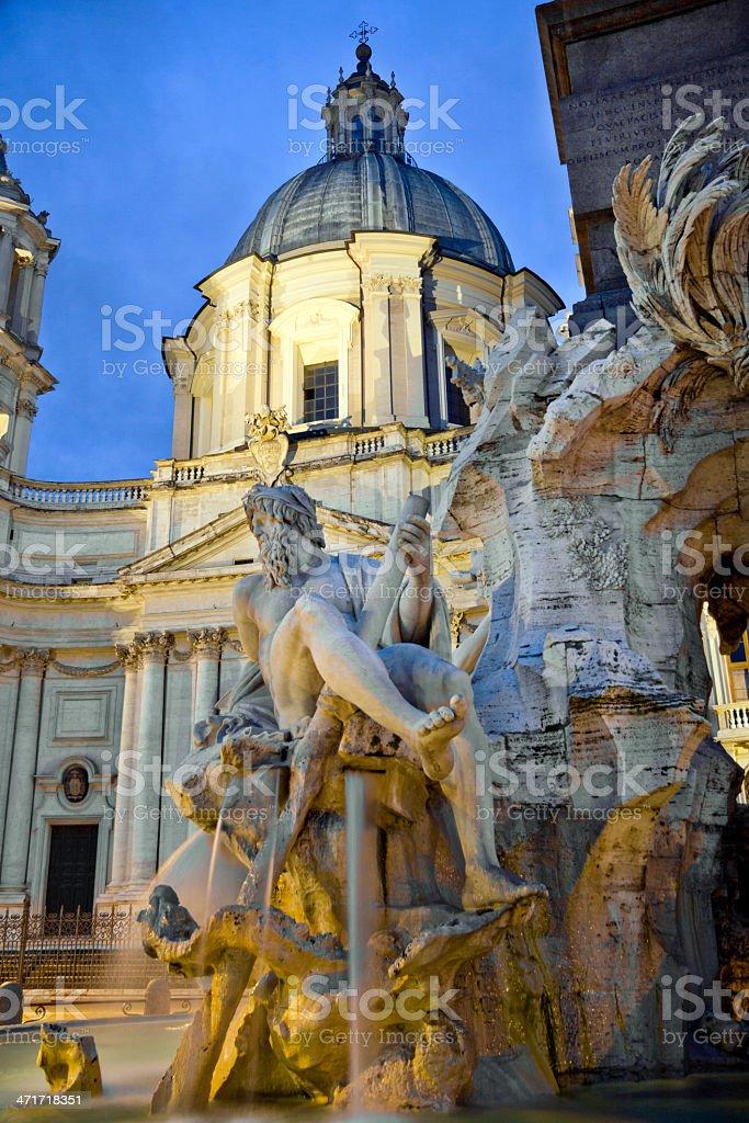 Detail of Bernini fountain in 'Piazza Navona', Rome, Italy royalty-free stock photo
