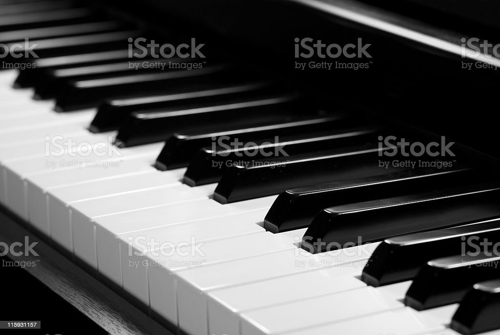 Detail of black and white piano keyboard stock photo