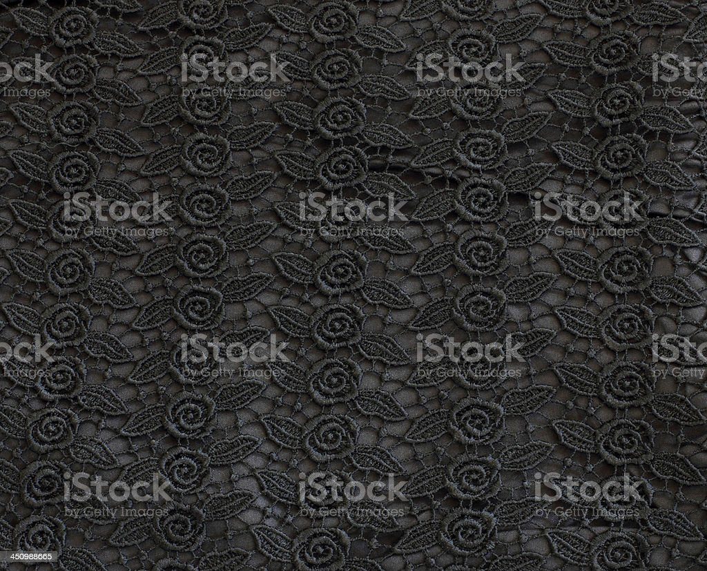 Detail of black lace pattern fabric royalty-free stock photo
