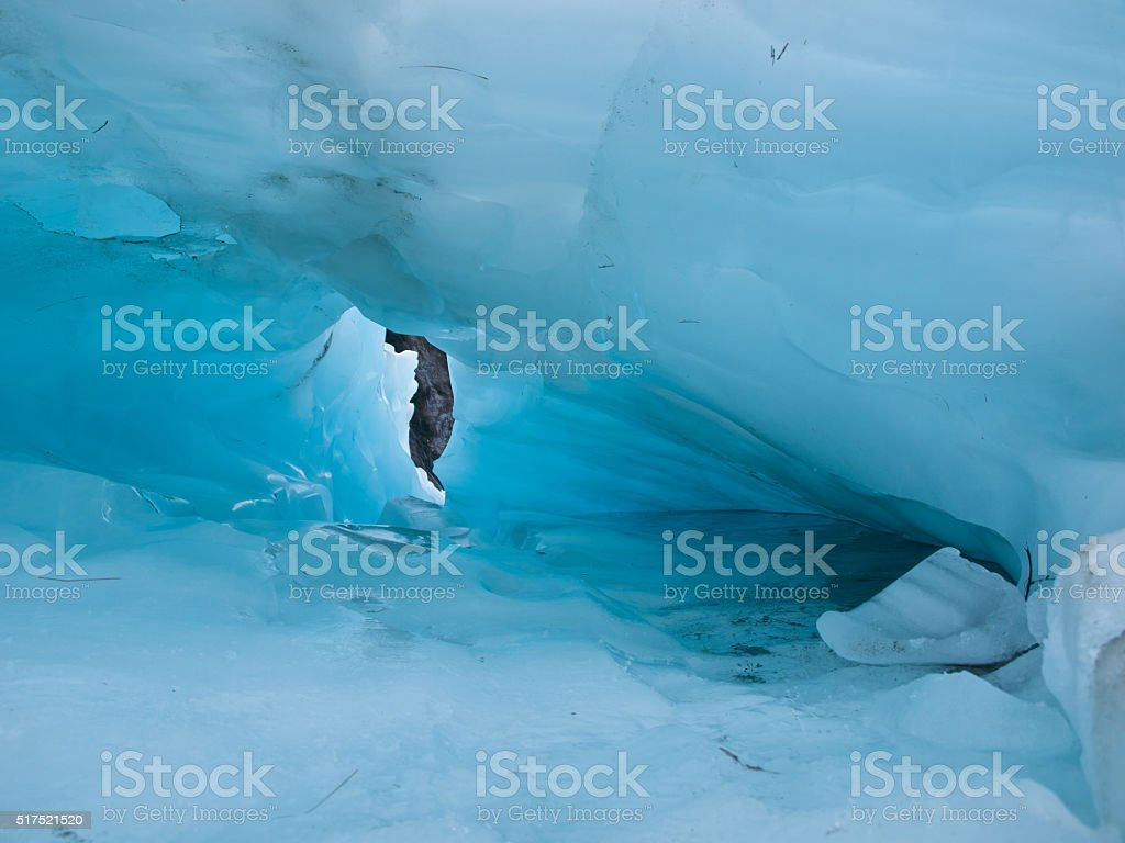 Detail of blue ice hole on a glacier stock photo
