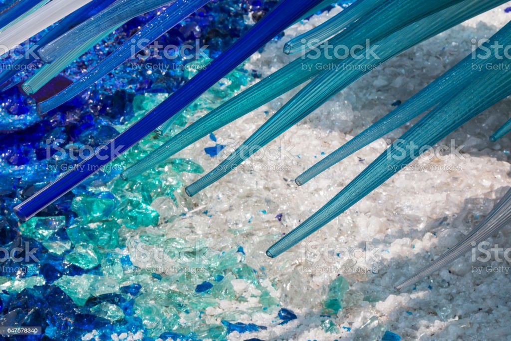 Detail of Blue Murano Glass Sculpture in Murano, Venice - Italy stock photo