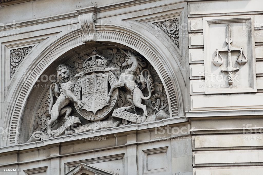 Detail of Bow Street Magistrates Court building stock photo