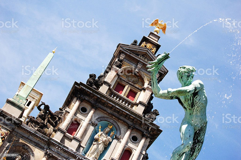 Detail of Brabo fountain in Antwerp royalty-free stock photo